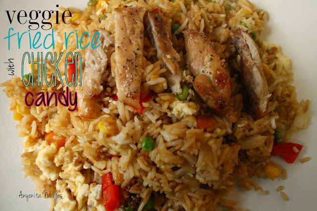 Veggie Fried Rice with Chicken Candy