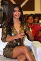 Pooja Hegde looks glamarous in deep neck sleevless short tight golden gown at Duvvada Jagannadham thank you meet function 141.JPG