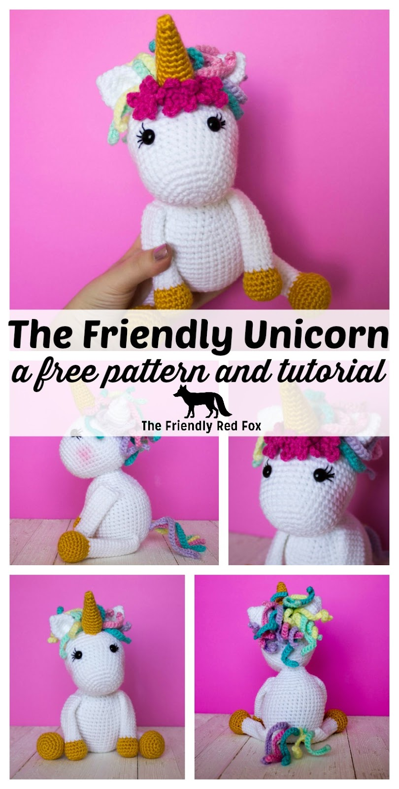 Free Crochet Unicorn Pattern - thefriendlyredfox.com