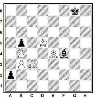 Estudio artístico de ajedrez compuesto por R. Huguet (2º Premio, Concurso de Suiza, 1954)