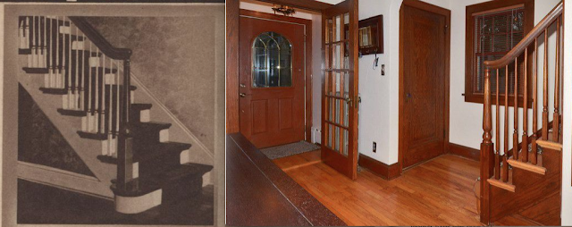comparison of staircase newel and balusters against catalog image Gordon-Van Tine Diana or Rowan • 213 Grand Avenue, Madison, Wisconsin
