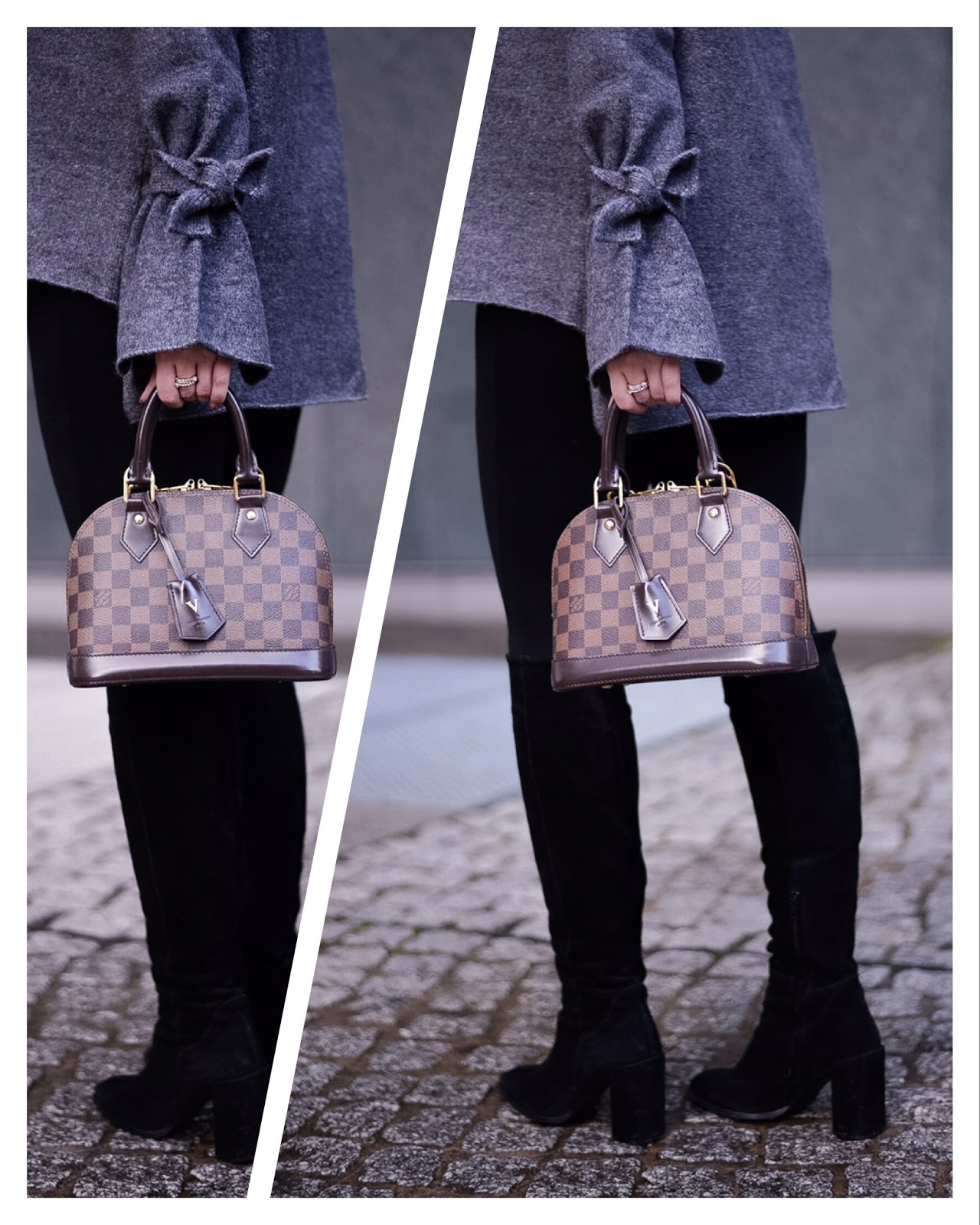 louis vuitton alma bb_alma bb damier ebene_knee high boots_fashionblogger