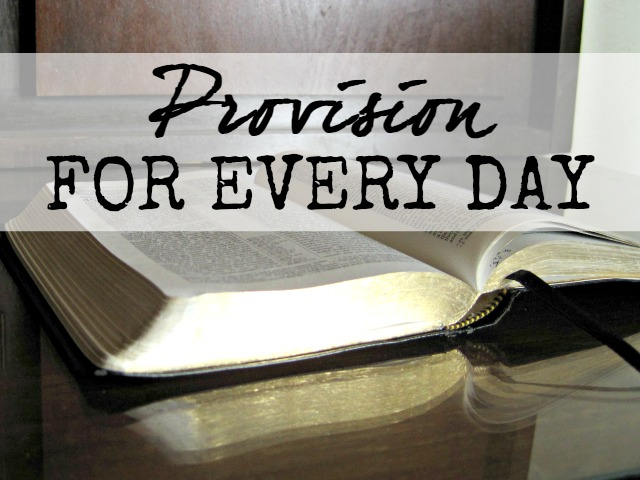 The Bible is for every day provision necessary