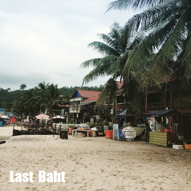 restaurants, guesthouses, and bars along the beach of Koh Rong Island, Cambodia