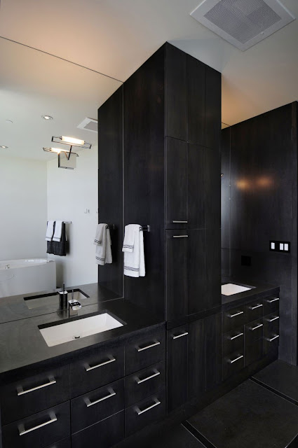 Picture of dark black furniture in the bathroom