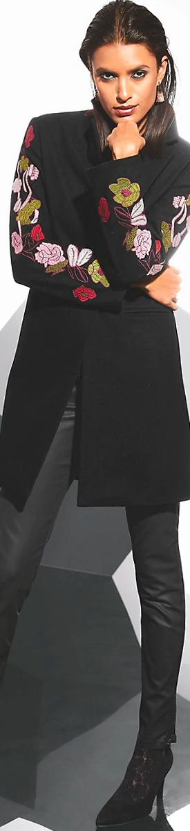 MADELEINE EMBROIDERED COAT IN BLACK