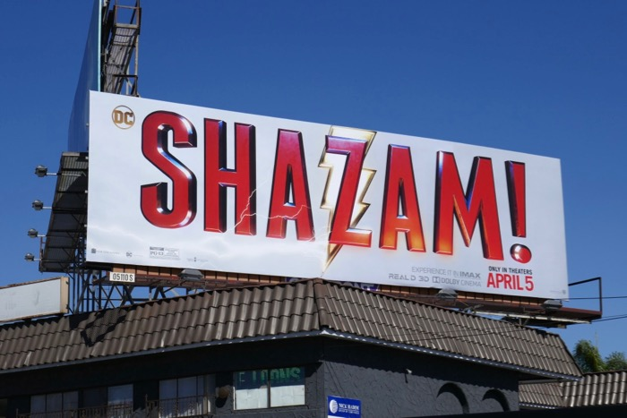 Shazam movie logo billboard