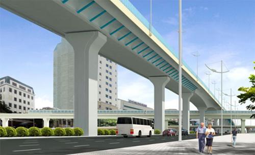 Phối cảnh tuyến đường vành đai 2 đoạn nối Ngã tư Sở - cầu Vĩnh Tuy