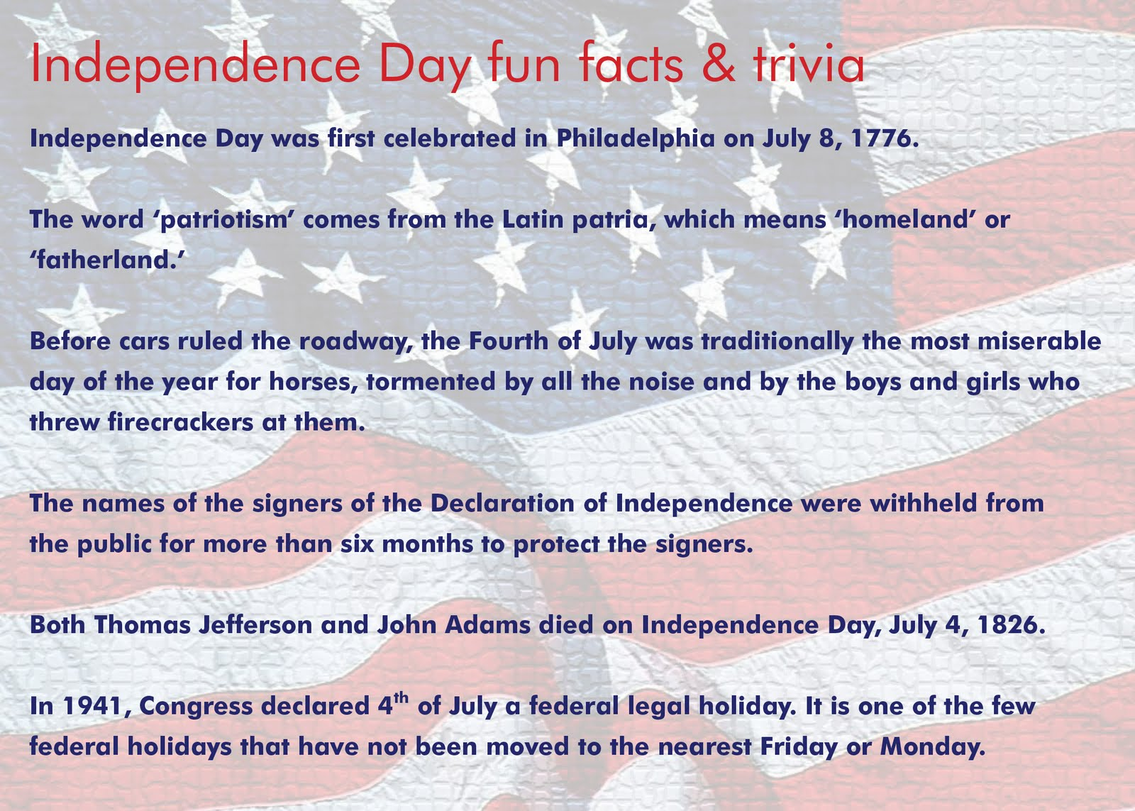 Roberto S Random Thoughts Independence Day Fun Facts