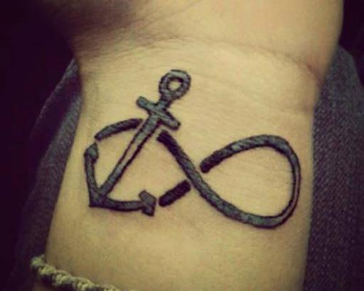 Pequena tatuagem de âncora no pulso