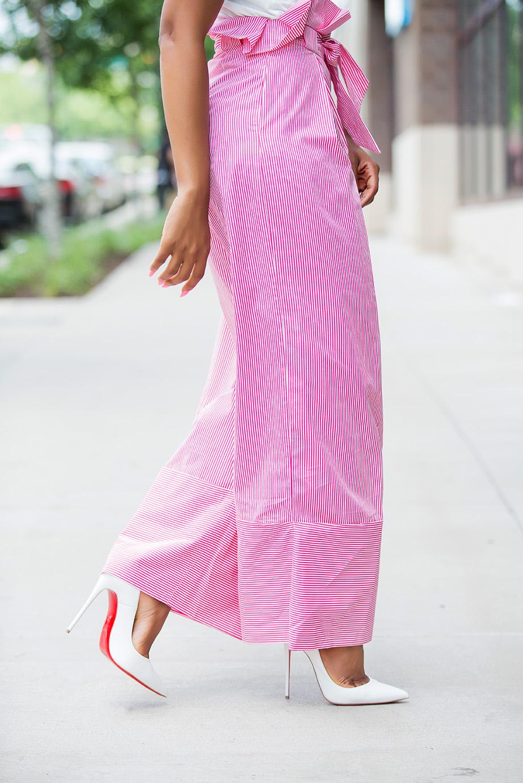 white pumps and zara high-waist stripe pants, www.jadore-fashion.com