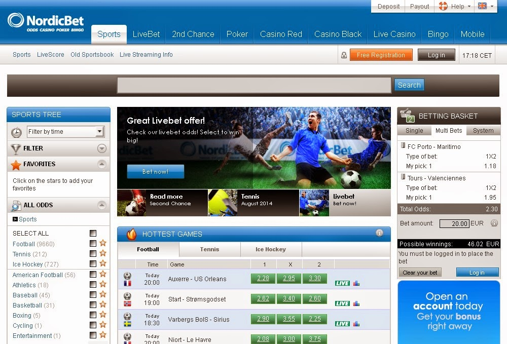 Nordicbet Sportsbook Screen