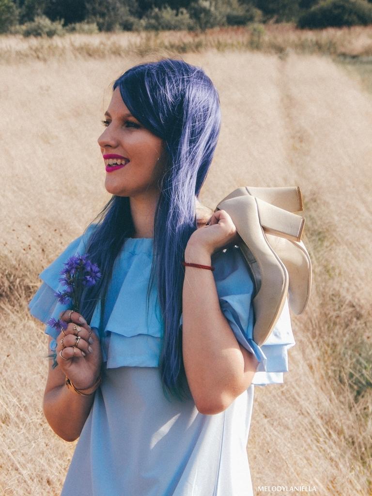 7 daniel wellington ootd lookbook fashion blogger modowe blogerki z łodzi melodylaniella blue hair niebieskie włosy baby blue hiszpanka venita błękitna sukienka stylizacja outfit modna polka pastel hair