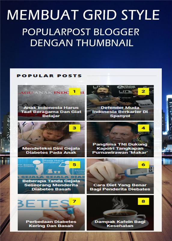 Membuat Popular Post Grid Style dengan Thumbnail di Blog