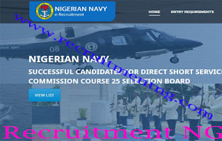 2017/2018 Nigerian Navy Full List Of Successful Candidates For DSSC Course 25 Selection Board