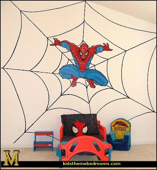 Spiderman theme bedroom  spiderman bedroom decorating ideas - Spiderman rooms - spiderman room decor -  Spiderman Bedroom Decor -  spiderman Bedroom Ideas - superhero bedrooms - Spider web curtains  - spiderweb bedding - Marvel Heroes wall murals -  spiderman bedroom decor - Avengers wallpaper murals -  superhero theme bedrooms - Superhero bedroom ideas - boys bedrooms