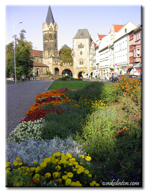 Beautiful flowers and ancient buildings in Germany