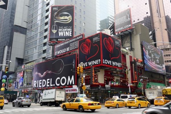 Riedel Love wine billboards NYC