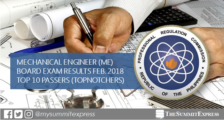 February 2018 Mechanical Engineer ME, CPM board exam topnotchers