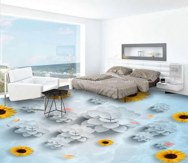 Simple 3D flooring murals for modern bedroom flooring