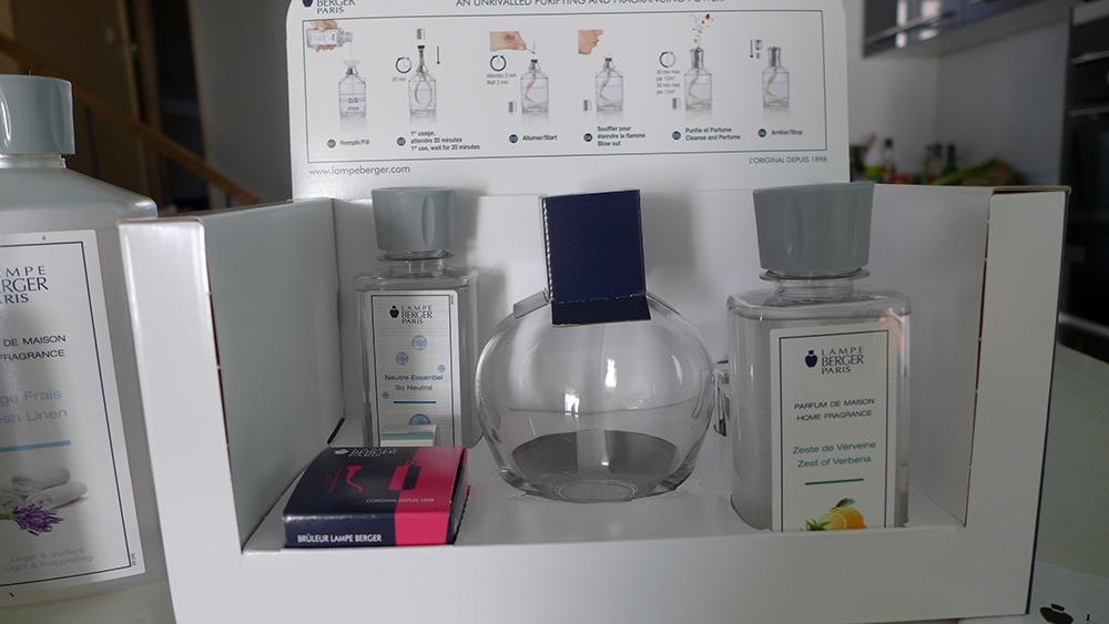 test et utilisation de la lampe berger, le purificateur d'air, le coffret