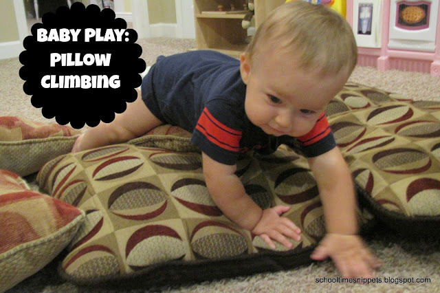 pillow climbing activity for crawling babies