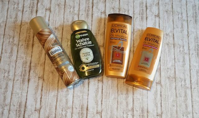 Balea - Trockenshampoo blond    Garnier - Wahre Schätze Mythisch Olive    L'Oréal - Öl Magique Shampoo und Spülung