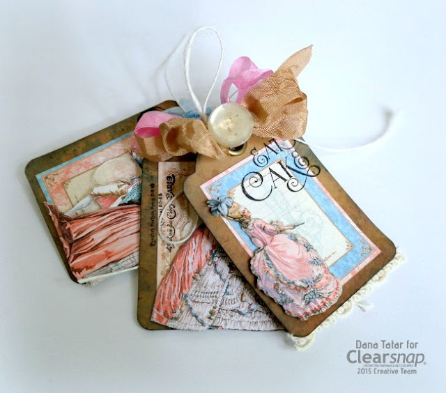 Graphic 45 Gilded Lily Dye Ink Distressed Kraft Tags by Dana Tatar for Clearsnap