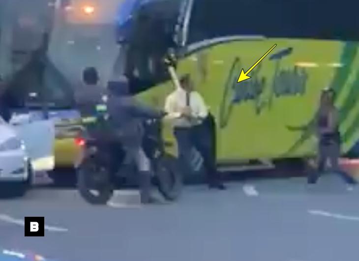 (Video) Chofer de Caribe Tours se defiende de hombre intentó agredirlo con machete