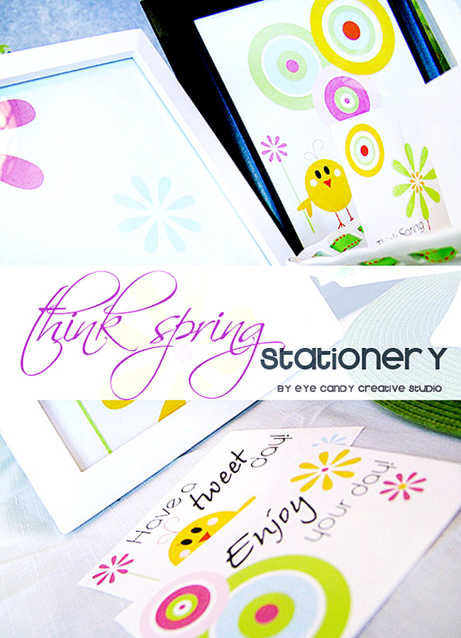 spring stationery set, think spring, stationery, circles, stationery gift set