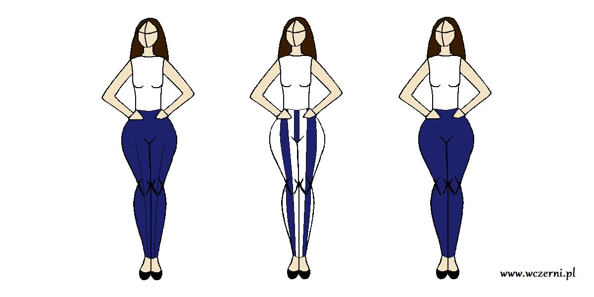 szerokie biodra wyszczuplone za pomocą wzoru spodni