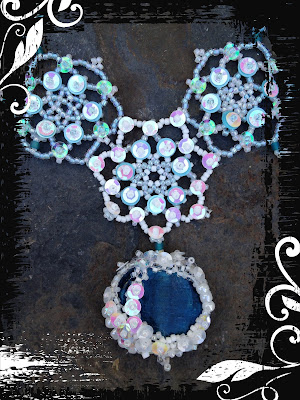 freeform RAW beaded pendant and beaded snowflakes with sequins