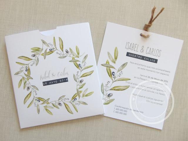 Sobre a conjunto con la invitación de boda en acuarela de estilo rústico con motivos vegetales