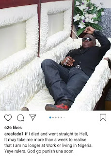 """if I Died And Went To Hell, It'll Take Me A While To Realize I'm No Longer In Nigeria"" - Charley Boy"