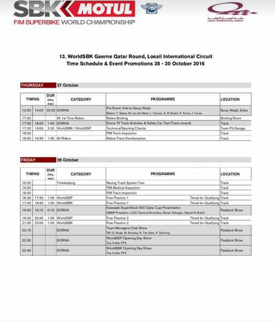 schedule-MOTUL-FIM-WSBK-finals-Losail-Circuit