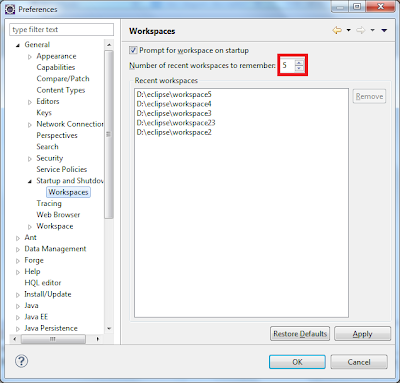 Eclipse workspace dialog
