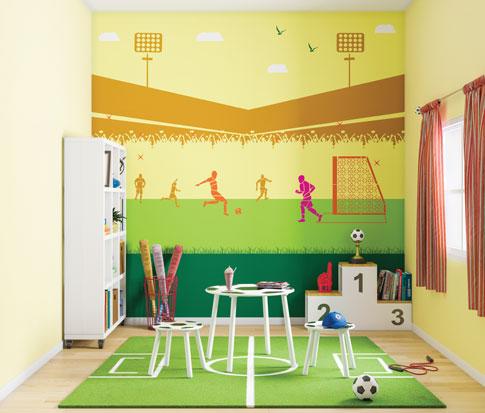 غرفة طفل اولاد جدار حائط لون