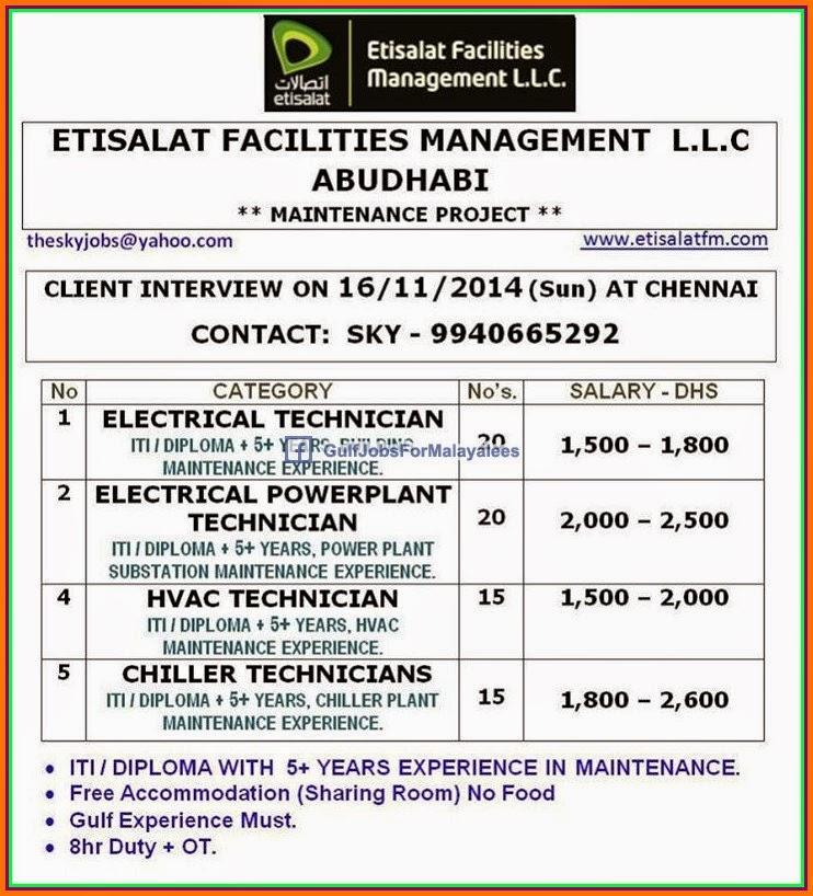 etisalat facility management llc abudhabi job vacancies. Black Bedroom Furniture Sets. Home Design Ideas