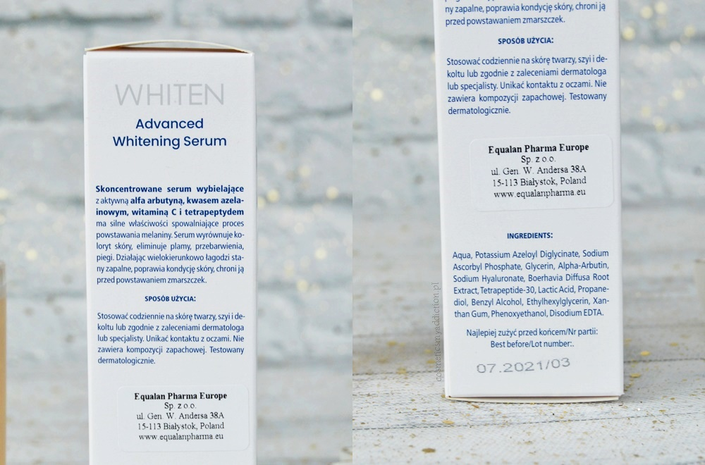 Novaclear, Whiten - linia dermokosmetyków wybielających, serum