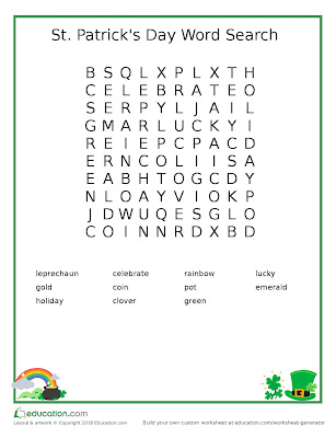 St Patrick's Day Word Search - Kid Craft