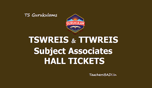 TSWREIS, TTWREIS Subject Associates Hall tickets 2019 Download
