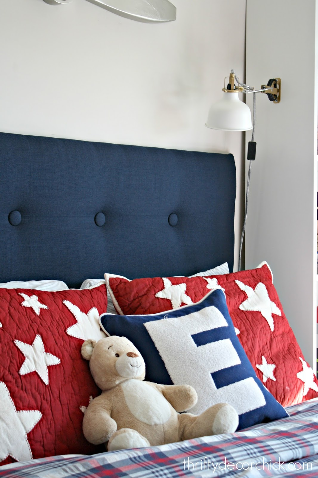 Custom navy tufted headboard