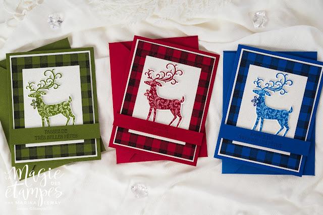 Cartes de Noël Stampin' Up! confectionnées avec le jeu d'étampes Renne fringuant
