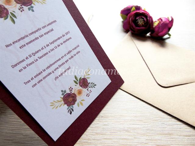 Diseño con flores pintadas estilo vintage de color marsala