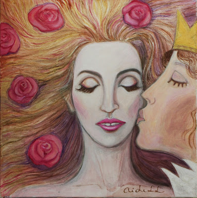#AideLL #romantic art #princess #fairy tale #illustration #nursery art #mixed media