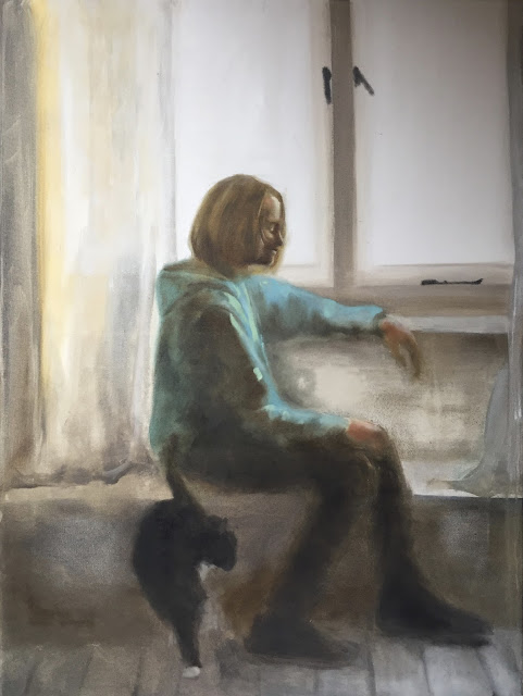 Child by the window, oil on canvas, child portrait by Philine van der Vegte