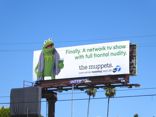 Kermit full frontal nudity Muppets billboard