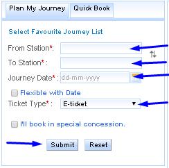 Process tarin ticket