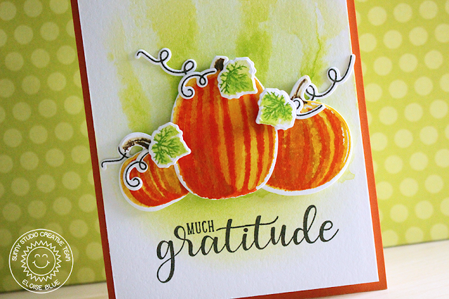 Sunny Studio Stamps: Pretty Pumpkins & Autumn Greetings Layered Pumpkin Card by Eloise Blue