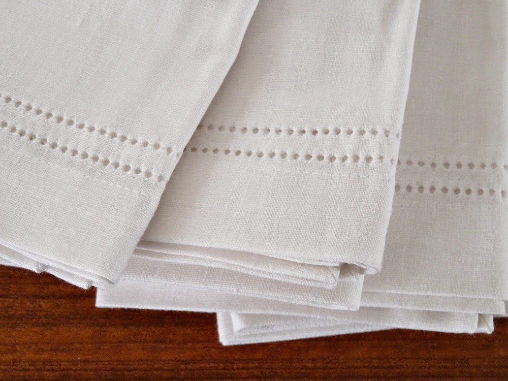 White linen napkin eyelet detail